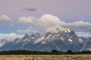 A Dusting Of Snow Coating The Peaks Of The Teton Mts In Late July, Grand Teton NP, Wyoming by Mike Cavaroc