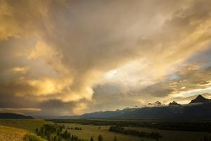A Heavy Thunderstorm over Jackson Hole, Wyoming from the Teton Mountains, Grand Teton National Park by Mike Cavaroc