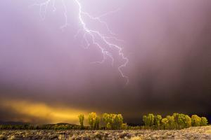 A Lightning Bolt Strikes Toward Jackson Hole, Wyoming During a Storm by Mike Cavaroc