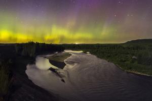 Aurora Borealis Shining Dramatically Over The Snake River And Jackson Hole, Grand Teton NP, Wyoming by Mike Cavaroc