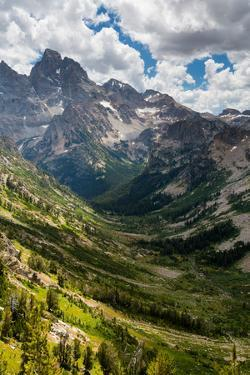 Cathedral Group Of Teton Peaks Rising Above S & N Forks Of Cascade Canyon. Grand Teton NP, Wyoming by Mike Cavaroc