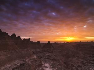 Cloudy Badlands Sunrise by Mike Cavaroc