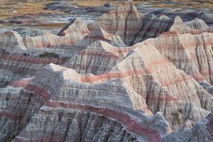 Eroded Badlands Hills Forming Abstract Patterns, Big Badlands Overlook. Badlands NP, S Dakota by Mike Cavaroc