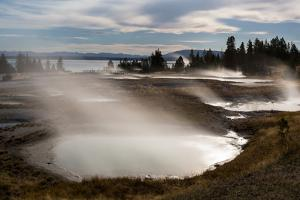 Hot Springs In The West Thumb Geyser Basin Steaming Under Moonlight, Yellowstone NP, Wyoming by Mike Cavaroc