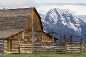 Mount Moran Behind The Moulton Barn On Mormon Row, Grand Teton National Park, Wyoming by Mike Cavaroc