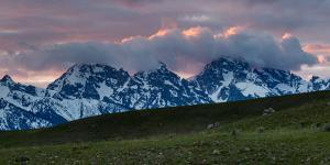 Sunset Hitting The Backs Of Clouds Building Above The Teton Mountains. Bridger-Teton NF, Wyoming by Mike Cavaroc