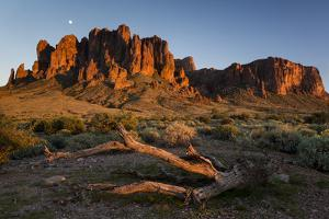 The Moon Rising Above The Western Superstition Mountains, Lost Dutchman State Park, Arizona by Mike Cavaroc