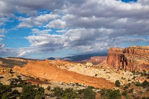 The Waterpocket Fold Stretching To The North Behind Cohab Canyon, Capitol Reef National Park, Utah by Mike Cavaroc