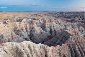 Twilight Sky Fading Above Large Badlands Hills, Big Badlands Overlook. Badlands NP, South Dakota by Mike Cavaroc