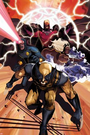 Origins of Marvel Comics: X-Men No.1 Cover: Wolverine, Storm, Cyclops, and Magneto Running by Mike Del Mundo