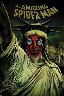 The Amazing Spider-Man No.666 Cover: Spider-Man Painted on the Statue of Liberty by Mike Del Mundo