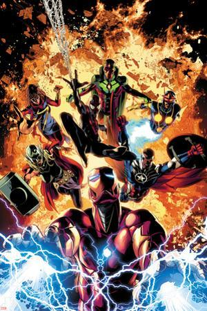 Invincible Iron Man No. 11 Cover Art Featuring: Ms. Marvel, Vision, Nova, Falcon Cap and More by Mike Deodato