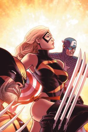 New Avengers No.17 Cover: Ms. Marvel, Captain America and Wolverine