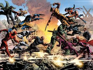 New Avengers No.20: Daredevil, Luke Cage, Iron Fist, Spider-Man, Dr. Strange and Others Fighting by Mike Deodato