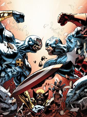 New Avengers No.24 Cover: Cyclops, Captain America, and Wolverine Fighting