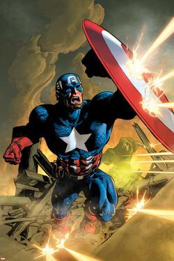 Secret Avengers No.12 Cover: Captain America Fighting with his Shield by Mike Deodato