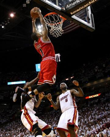 Chicago Bulls v Miami Heat - Game Four, Miami, FL - MAY 24: Derrick Rose, LeBron James and Udonis H by Mike Ehrmann