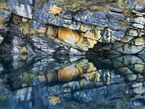 Reflections in Lake, Icefields Parkway, Horseshoe Lake, Jasper National Park, Alberta, Canada by Mike Grandmaison