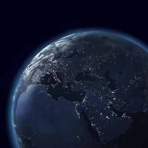 Night Globe With City Lights, Detailed Map Of Asia, Europe, Africa, Arabia by Mike_Kiev