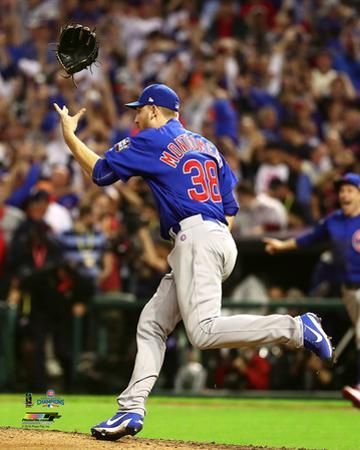 Mike Montgomery celebrates the final out of Game 7 of the 2016 World Series