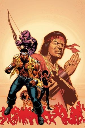 House Of M: Avengers No.2 Cover: Cage, Luke, Hawkeye and Shang-Chi Swinging by Mike Perkins