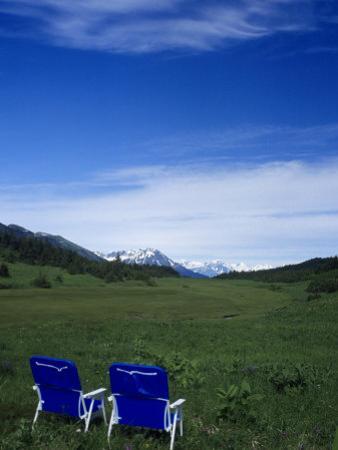 2 Chairs in Flower Field, Kenai, Alaska