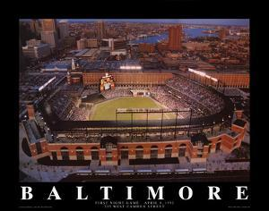 Baltimore Orioles Camden Yards First Night Game April 8, c.1992 Sports by Mike Smith