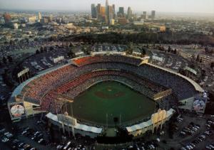 Dodger Stadium - LA Skyline at Dusk by Mike Smith