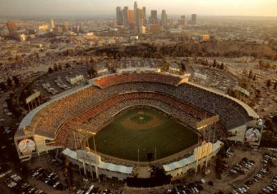 Dodger Stadium - LA Skyline at Dusk by Mike Smith