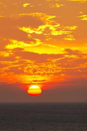 A Blazing Sunset over the Caribbean Sea by Mike Theiss