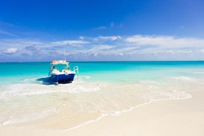 A Boat Pulled Up onto a Beach on a Private Island in the Turks and Caicos Islands by Mike Theiss