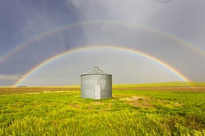 A Double Rainbow, Perfectly Centered over a Grain Silo and Wheat Field after a Thunderstorm Passes by Mike Theiss