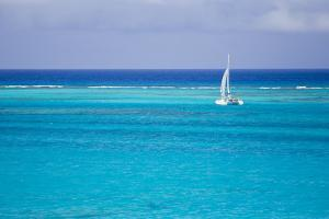 A Lone Sailboat in Turquoise Caribbean Waters Just Offshore by Mike Theiss