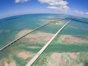 Aerial of Seven Mile Bridge at Extreme Spring Low Tide in the Keys by Mike Theiss