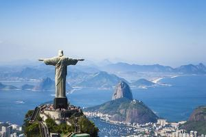 Aerial View of Christ the Redeemer Statue over Looking Rio De Janeiro Located by Mike Theiss