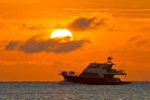 Boat Passing in Front of a Big Glowing Sun During a Spectacular Sunset over the Atlantic Ocean by Mike Theiss