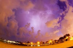 Fisheye Lens View of a Lightning Storm at Night by Mike Theiss