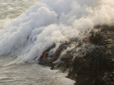 Lava Flowing into the Pacific, Releasing Gases and Creating New Land by Mike Theiss