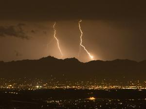 Lightning Bolt Strikes Out of a Typical Monsoonal Lightning Storm, Tucson, Arizona by Mike Theiss