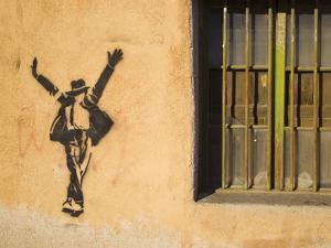 Michael Jackson Stenciled on a Wall Near a Window by Mike Theiss