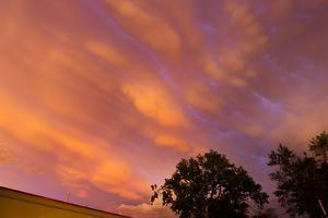 Pink and Orange Mammatus Clouds Underneath a Supercell Thunderstorm by Mike Theiss