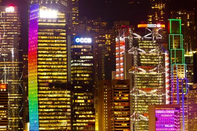 The Colorful Hong Kong Skyline Completely Lit Up at Night by Mike Theiss