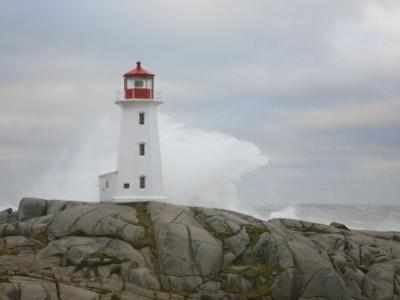 Waves Crashing into the Peggy's Cove Lightouse During Hurricane Noel by Mike Theiss