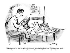 A father tucks his son into bed with a bedtime story about the corporation - New Yorker Cartoon by Mike Twohy