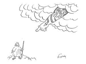 God has tattoo of Adam and Eve's banishment from Eden. - New Yorker Cartoon by Mike Twohy