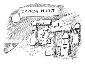 Some Moai statues on Easter Island support others with their heads. - New Yorker Cartoon by Mike Twohy