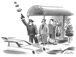 The doorman hails a cab with a gun. - New Yorker Cartoon by Mike Twohy