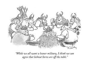 """""""While we all want a leaner military, I think we can agree that helmut hor?"""" - Cartoon by Mike Twohy"""