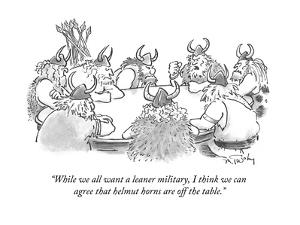 """While we all want a leaner military, I think we can agree that helmut hor?"" - Cartoon by Mike Twohy"