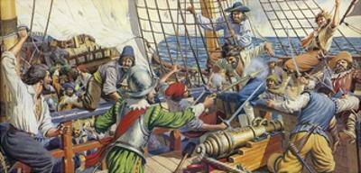 Pirates Attacking a Spanish Galleon